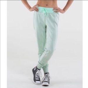 "Mint green lululemon ""happy yin year"" joggers sz 2"